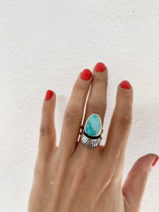 Turquoise & Silver Domed Ring