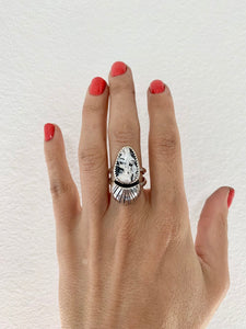 White Buffalo & Silver Domed Ring