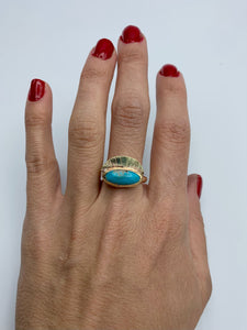 Turquoise & Brass Ama Ring