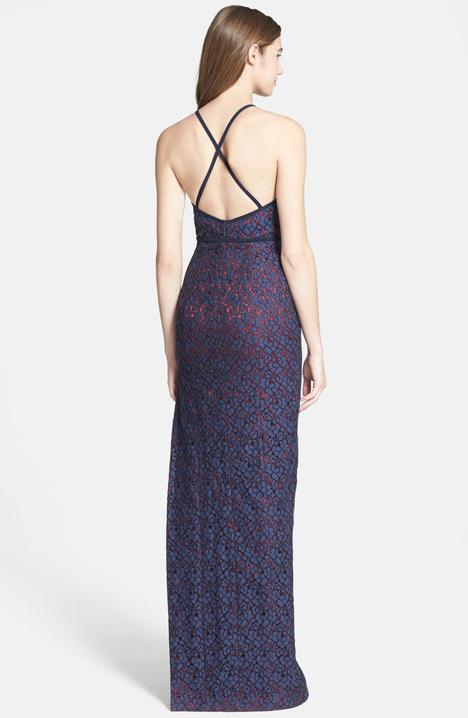 Black Halo Eve Laurel Berman Alyssa Lace Halter Gown
