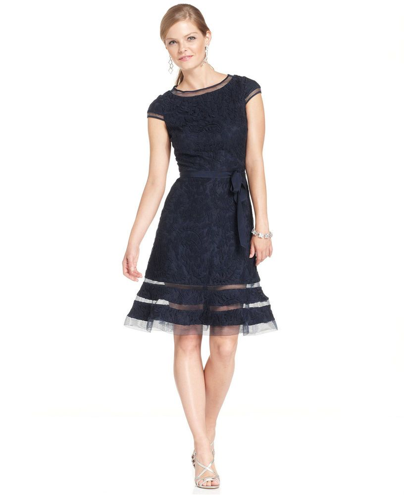 Adrianna Papell Lace Cap Sleeve Sash Fit n Flare Dress (Plus Size)