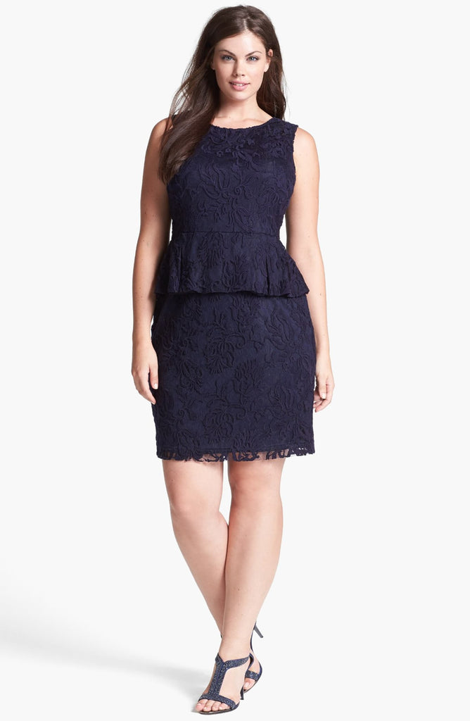 Adrianna Papell Blue Lace Peplum Dress (Plus Size)