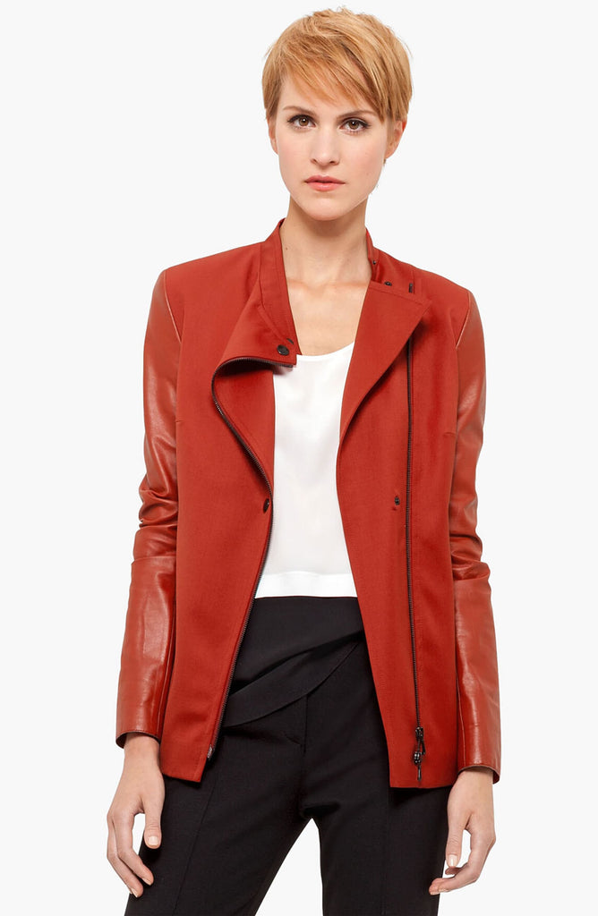 Akris Punto Leather Sleeve Gabardine Jacket