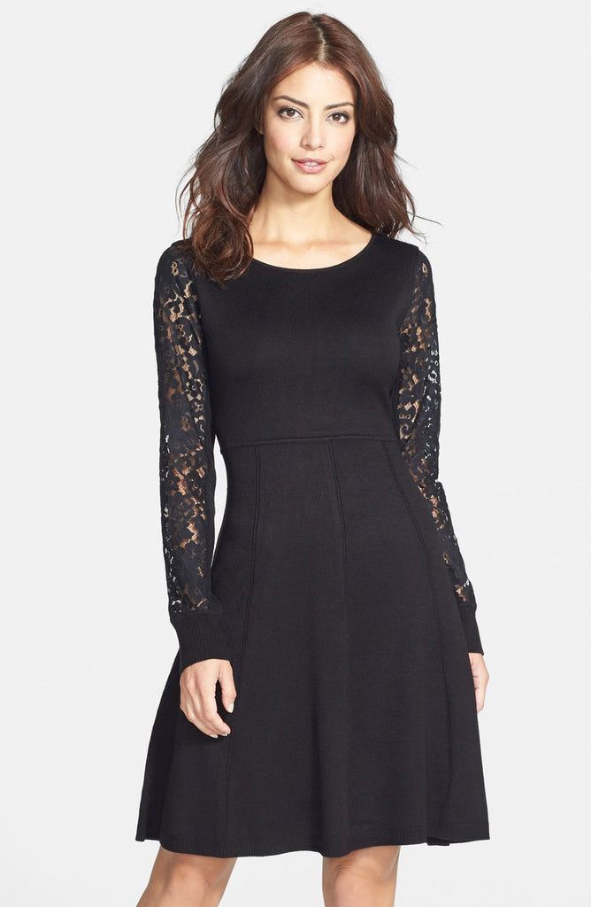 Eliza J Black Lace Sleeve Sweater Dress