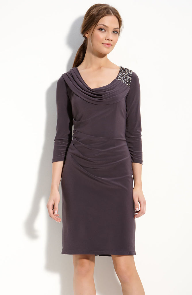 Adrianna Papell Beaded Drape Neck Jersey Dress