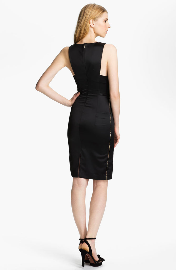 Just Cavalli Satin & Chiffon Sheath Dress