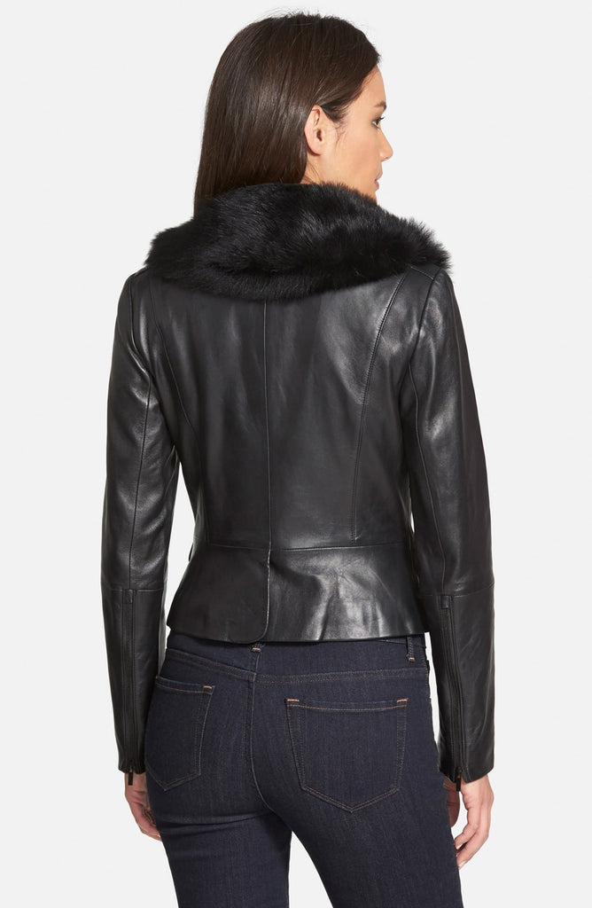 Classiques Entier Brenna Leather Jacket with Detachable Genuine Toscana Shearling Collar