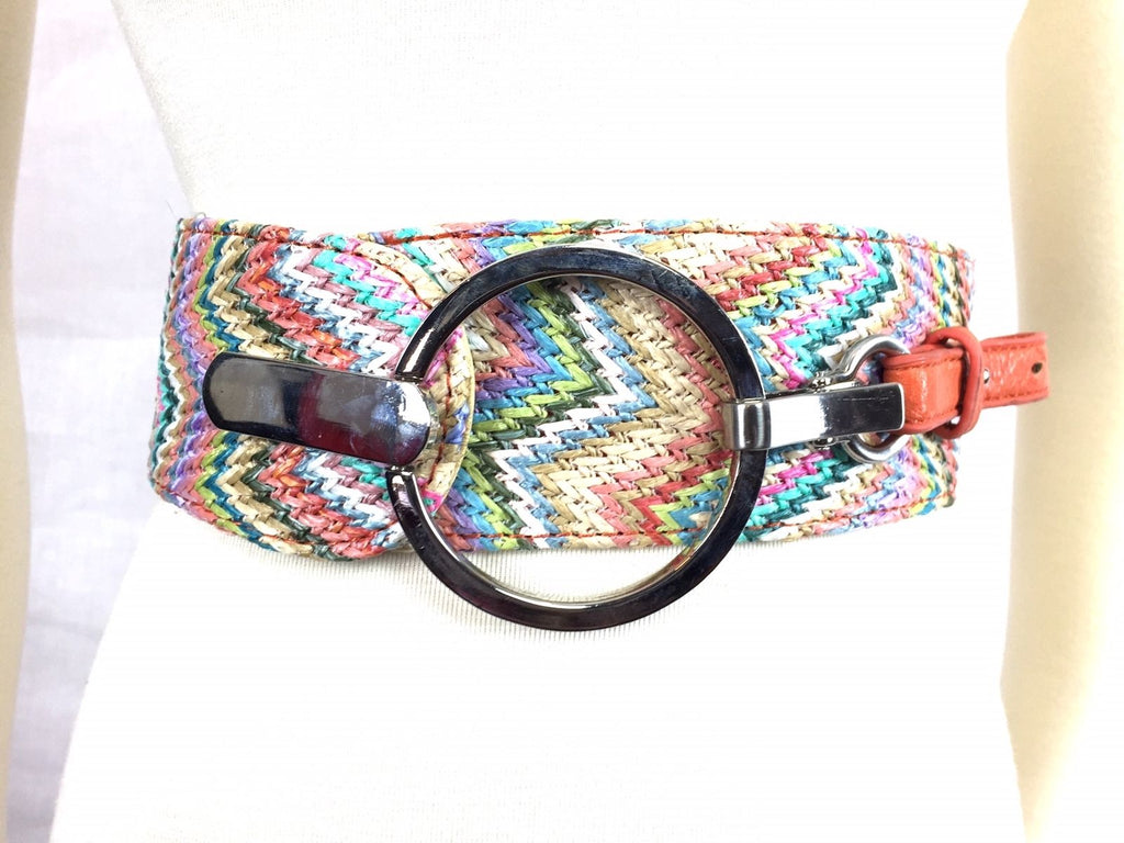 Multicolor Chevron Silver Lobster Claw Clip Belt Womens Rainbow Pastel