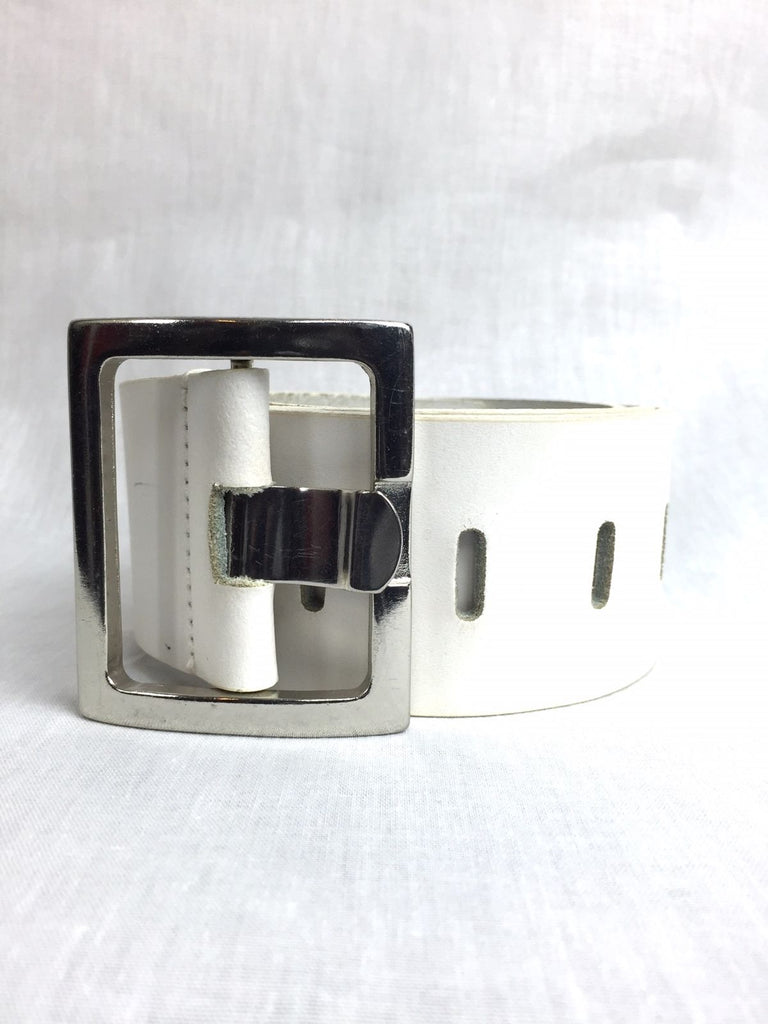 River Island White Perforated Notch Belt 40 Medium Silver Buckle Womens Leather