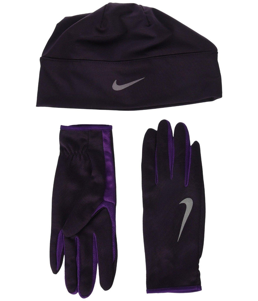 Nike Run Dry Hat and Gloves Set Port Wine/Night Purple/Silver Nwot XS/S beanie