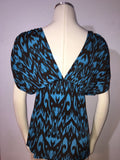 T-bags Los Angeles Ikat V-Neck Dolman Sleeve Jersey Tunic Top X-small Nwot teal