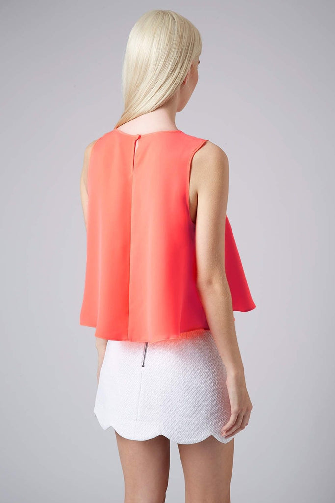 Topshop Pink Embellished Neck Swing Shell Top 8 eur 40 Nwot blouse Tank neon