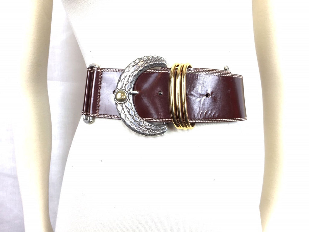Kathi Kilburn Brown Leather Belt Medium Thick Womens Two Toned Buckle Silver