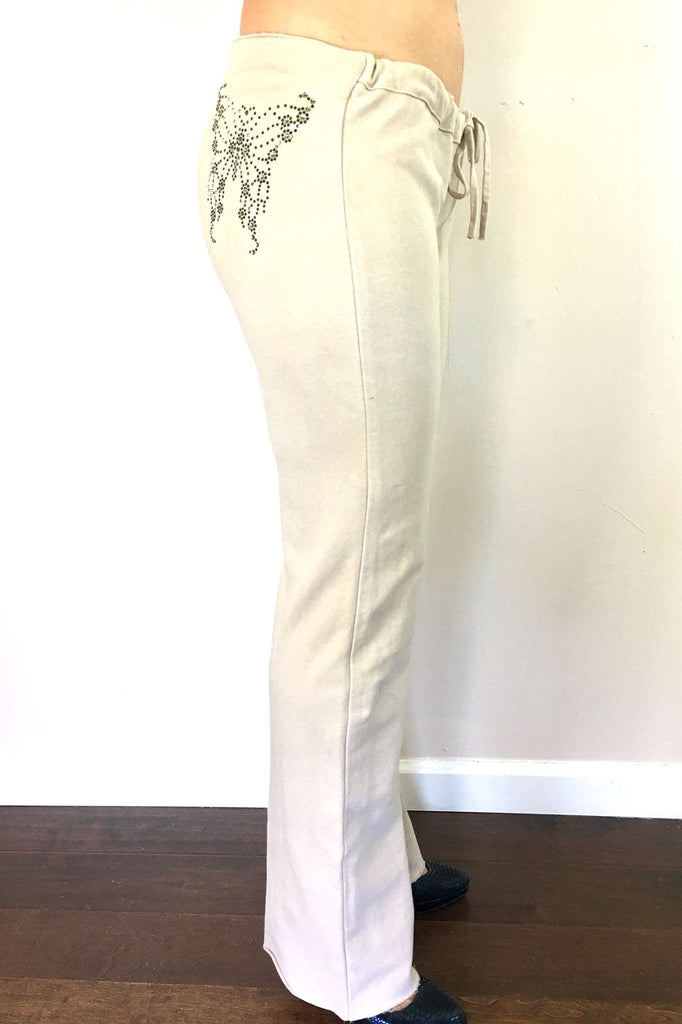 H. Starlet Crystal Butterfly Drawstring pants Large 8 10 12 sweats lounge
