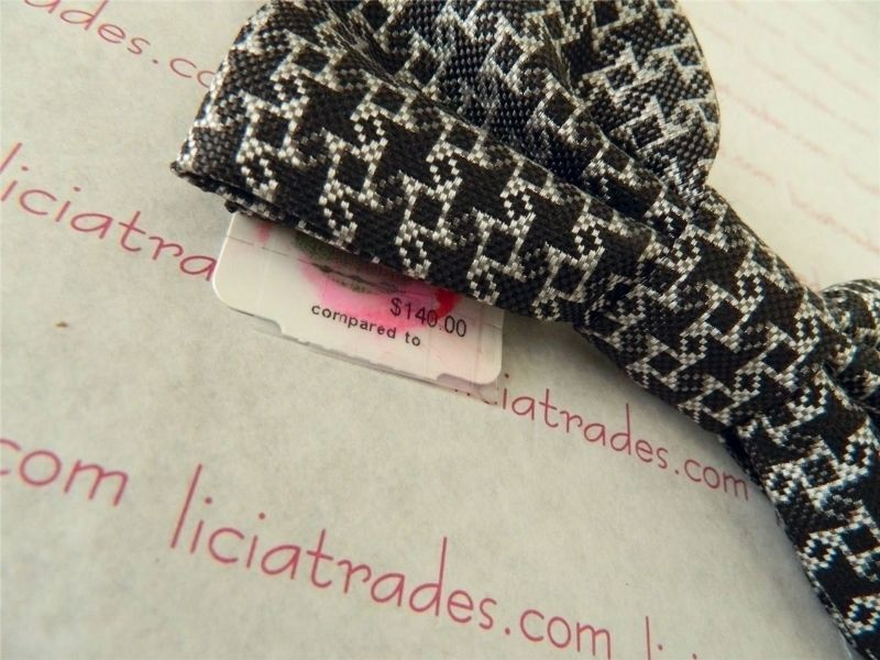 Halston Collections Check H Logo Bow Tie Nwt Silk Gray Black Navy Rare plaid