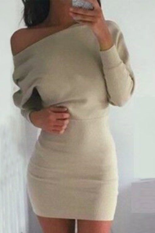 Cupshe Fallin' For You Bodycon Dress Beige New Medium Off the shoulders