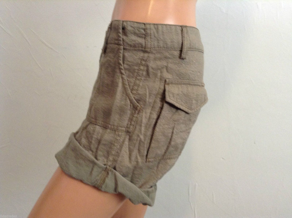 Bcbgirls Shine Glitter Roll Shorts 8 Medium Cuffed Army Green Pants Signature