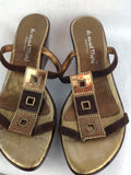 La via del Mare Rhinestone Wedge Sandals Flip Flops 37 7 Brown Bronze High Heels