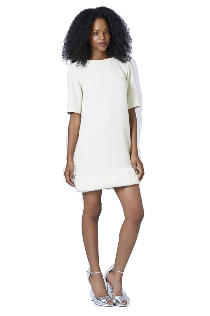 TopShop Faux Fur Hem Shift Dress