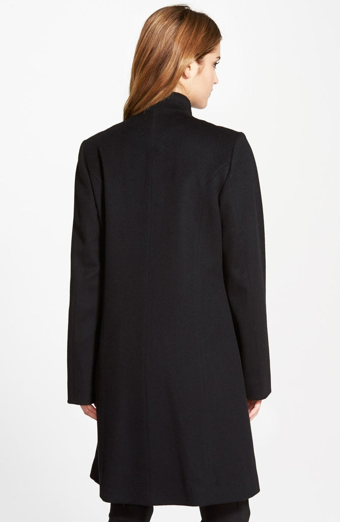 Fleurette Piped Wool & Cashmere Stand Collar Coat