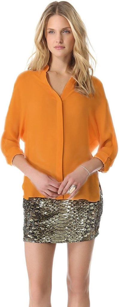 Haute Hippie Wide Dolman Sleeve Silk Blouse