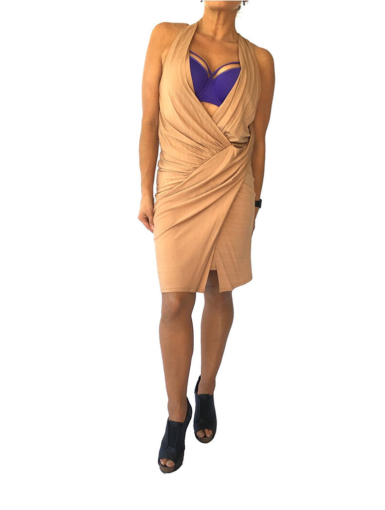 Haute Hippie Draped Crepe Faux Wrap Dress