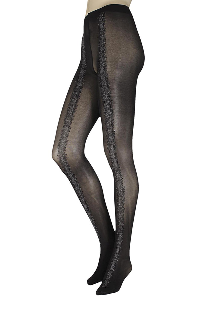 Oroblu Eloise Opaque Black Silver Tights