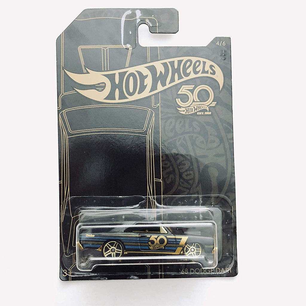 Hot Wheels 2018 50th Anniversary Black & Gold Series 1/64 Scale Diecast Model Car Rodger Dodger 3/6