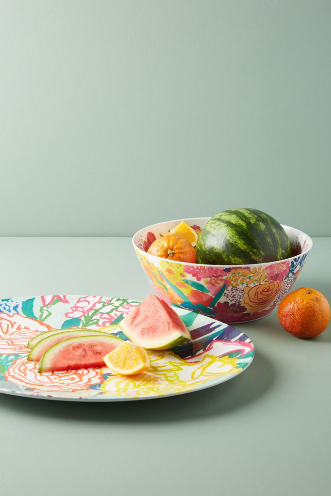 ANTHROPOLOGIE Bridgette Thornton Paint + Petals Melamine Serving Platter