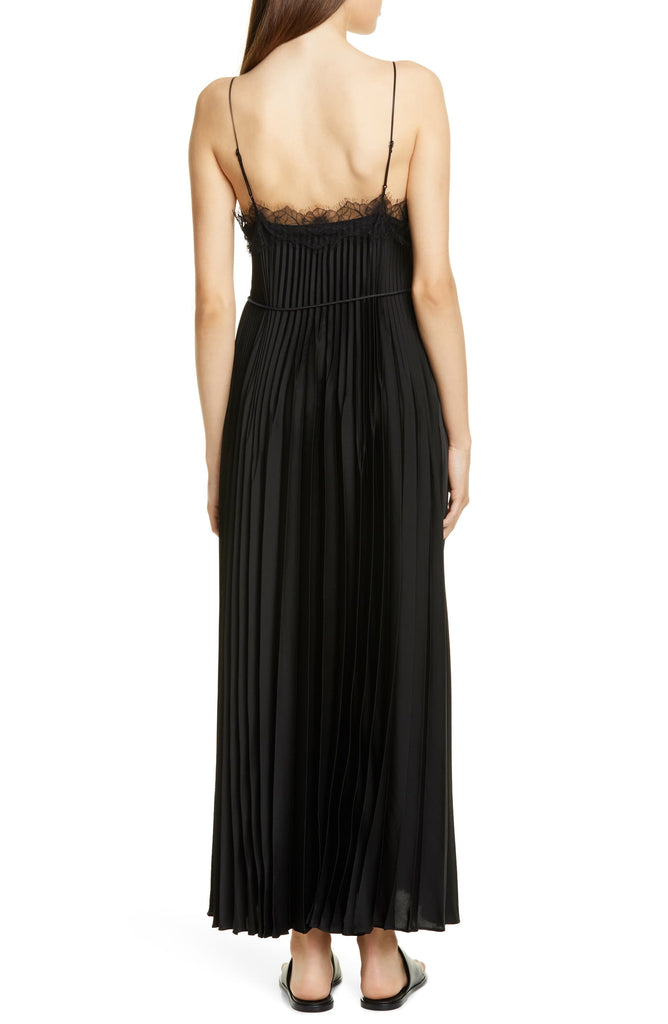 Vince Lace Trim Pleated Satin Slip Dress
