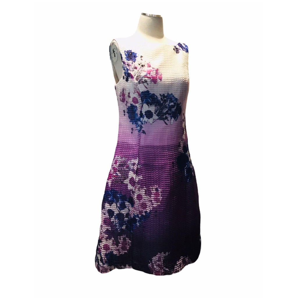 Kay Unger Watercolor Beaded Print A-Line Dress 10 Nwot New Fit and Flare cocktail Mauve