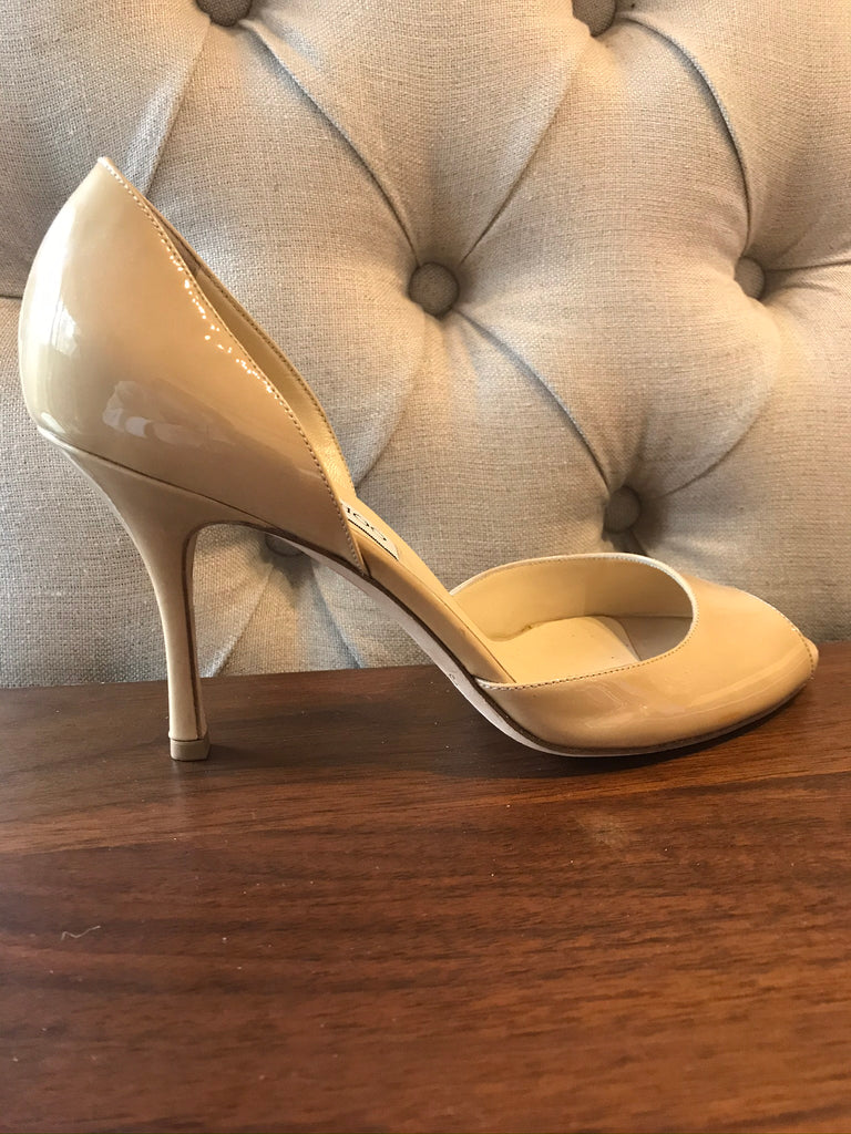 Jimmy Choo Logan d'Orsay Peep Toe Patent Leather Pumps