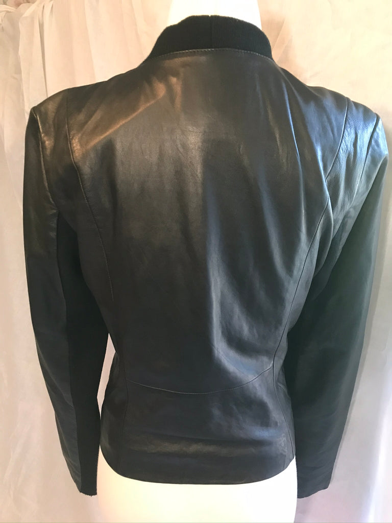 Trouve Knit Panel Leather Jacket