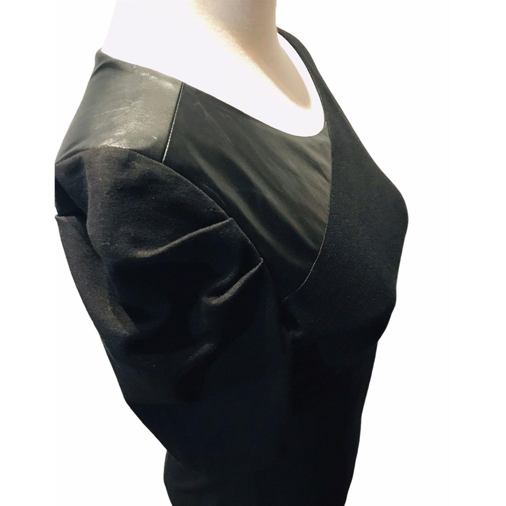 Cynthia Steffe Shadow Pleated Faux Leather Panel Dress 6 NWOT New Black Mini Womens Dresses