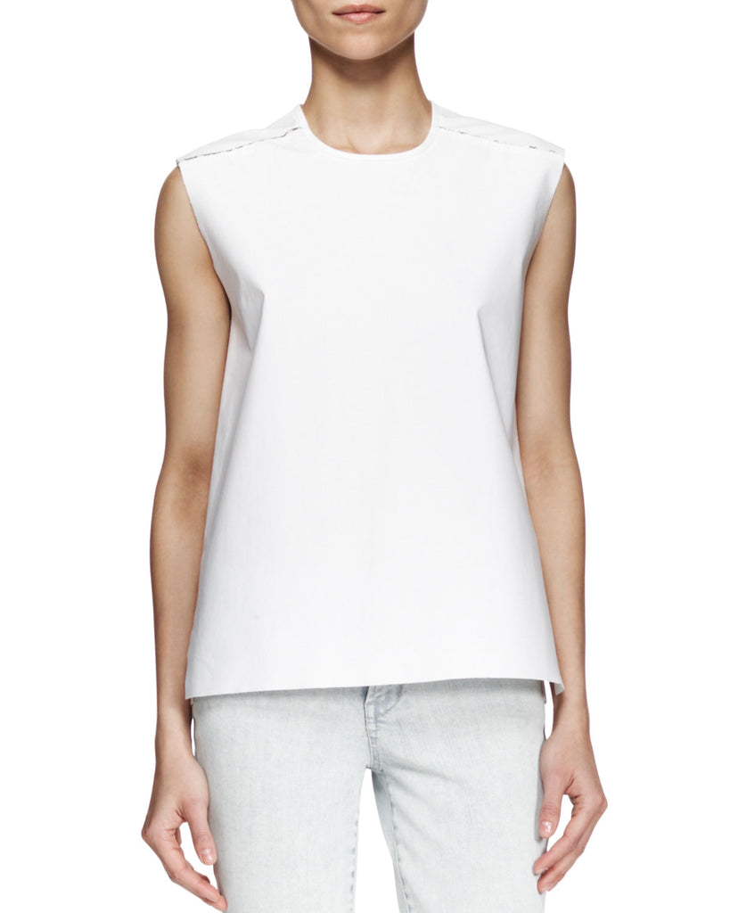 Helmut Lang Structured Poplin Zip Top