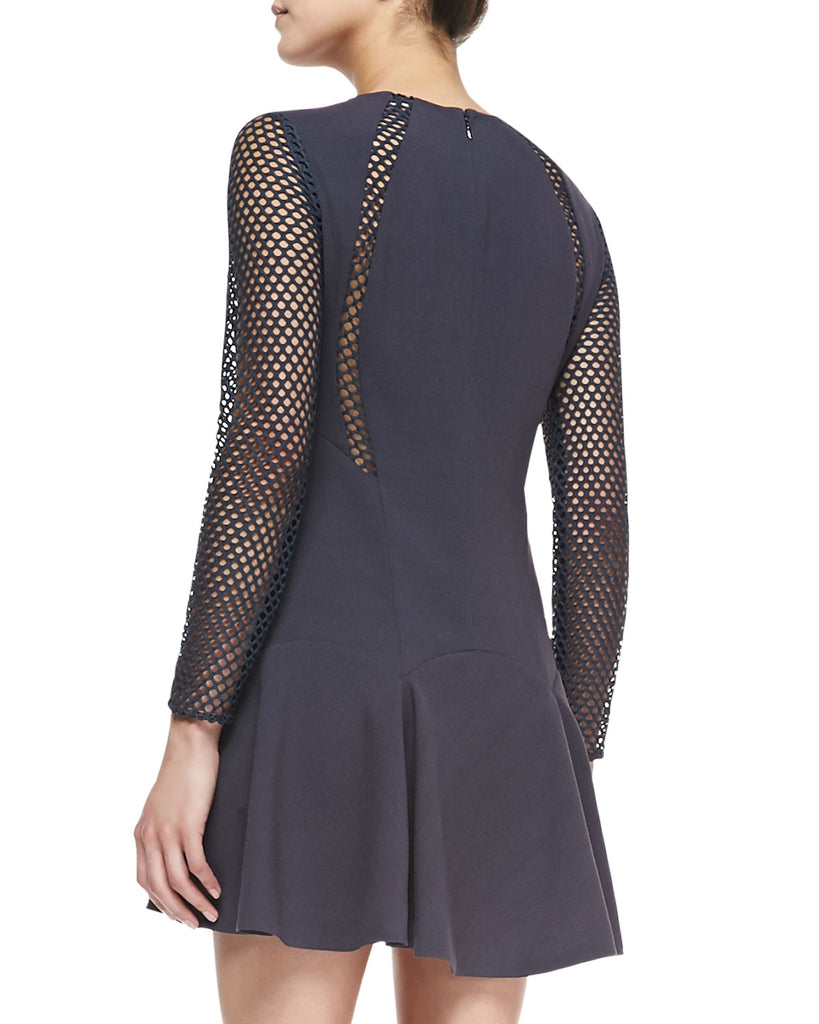 Rebecca Taylor Lace Mesh Detail Long Sleeve Dress