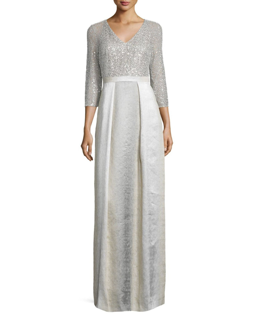 Kay Unger New York 3/4-Sleeve Sequined Combo Ball Gown