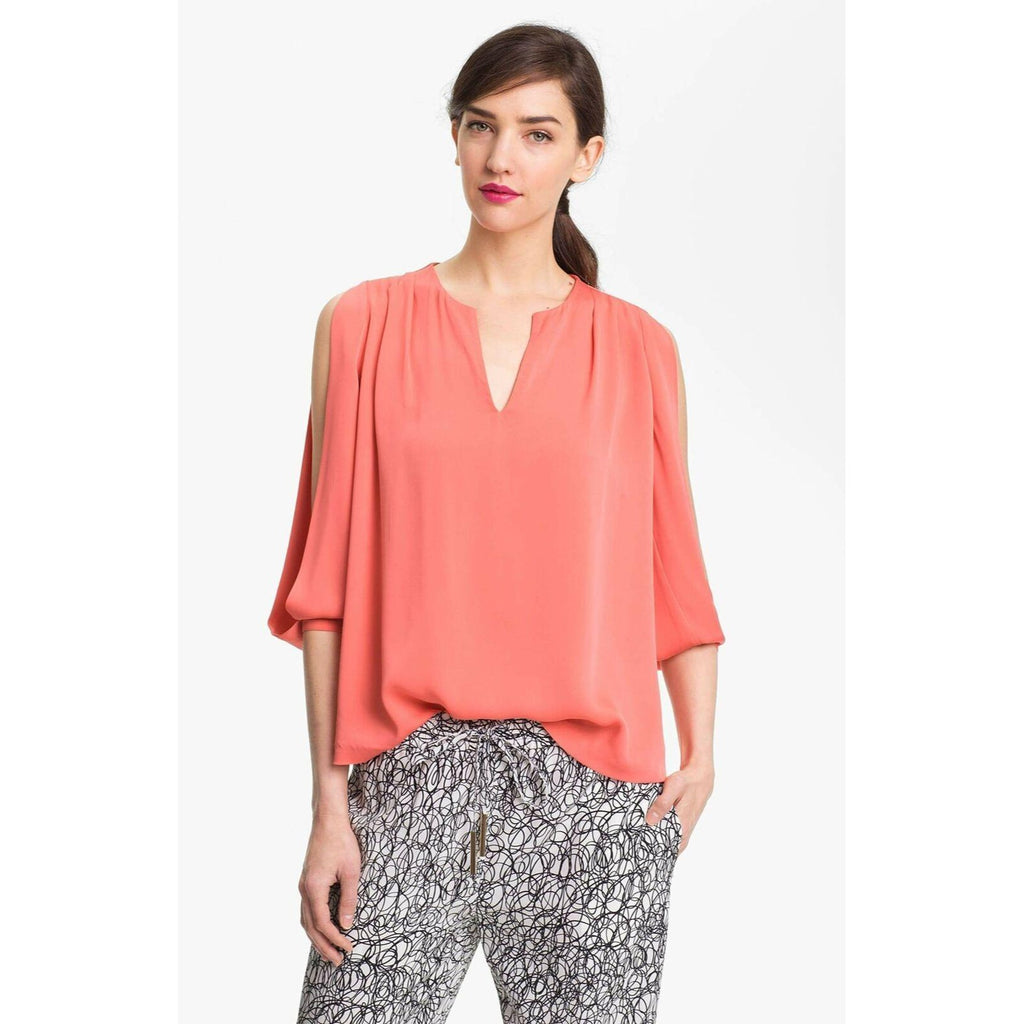 Diane Von Furstenberg Astor Cold Shoulder Silk Top 6 Nwt New Orange Blouse Shirt
