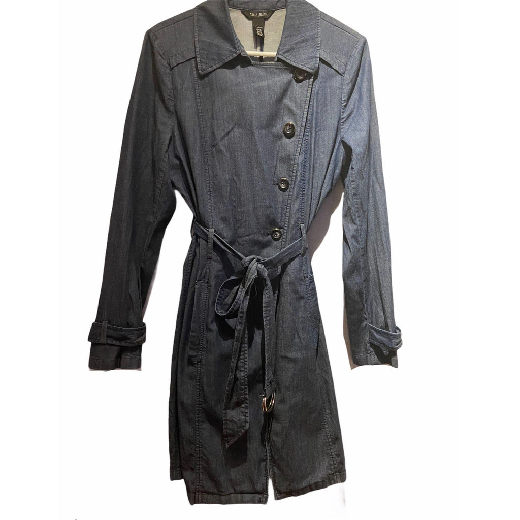 White House Black Market Denim Trench Coat Large Blue Jacket Blazer Womens