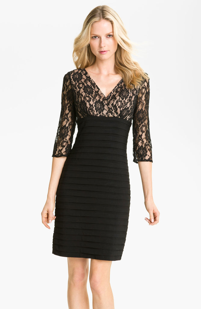 Adrianna Papell 3/4 Sleeve Lace Banded Dress