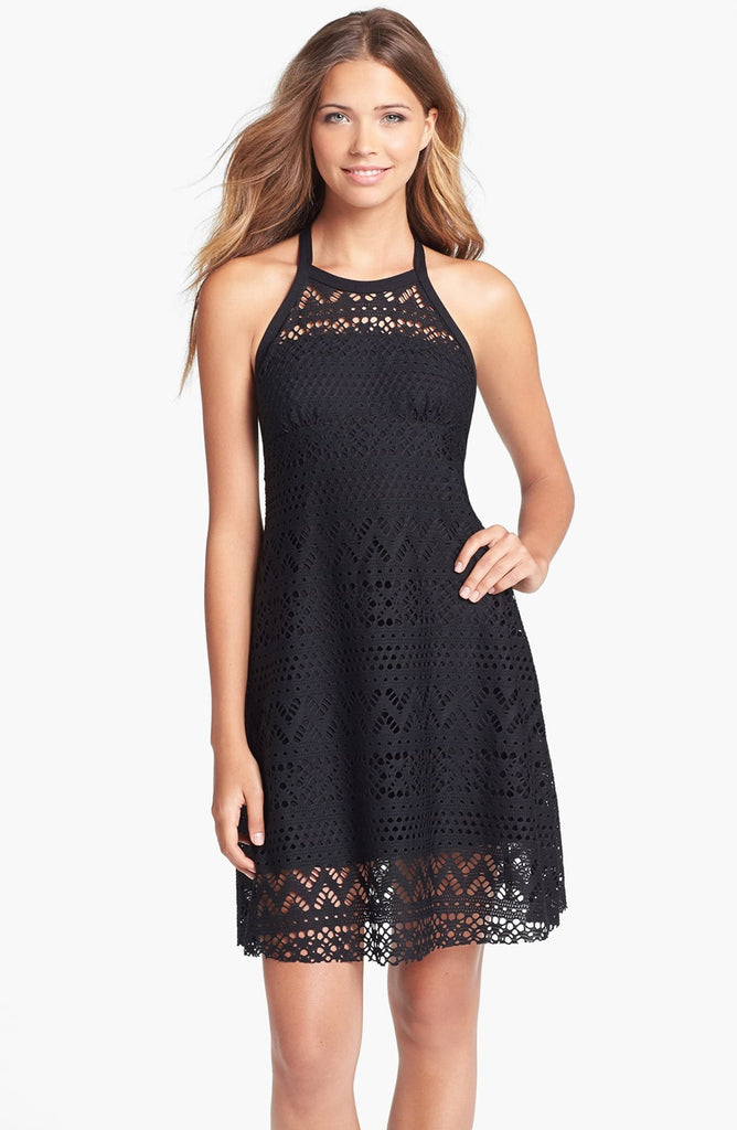 Robin Piccone Penelope High Neck Crochet Cover-Up Dress