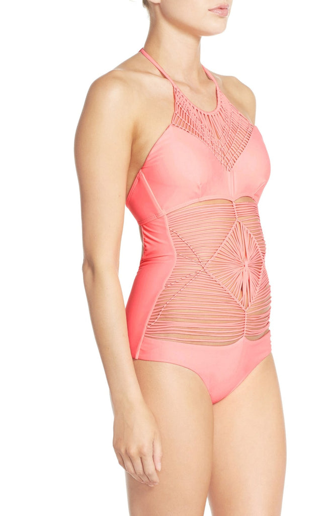 Luli Fama Heart of a Hippie Weave One-Piece Swimsuit
