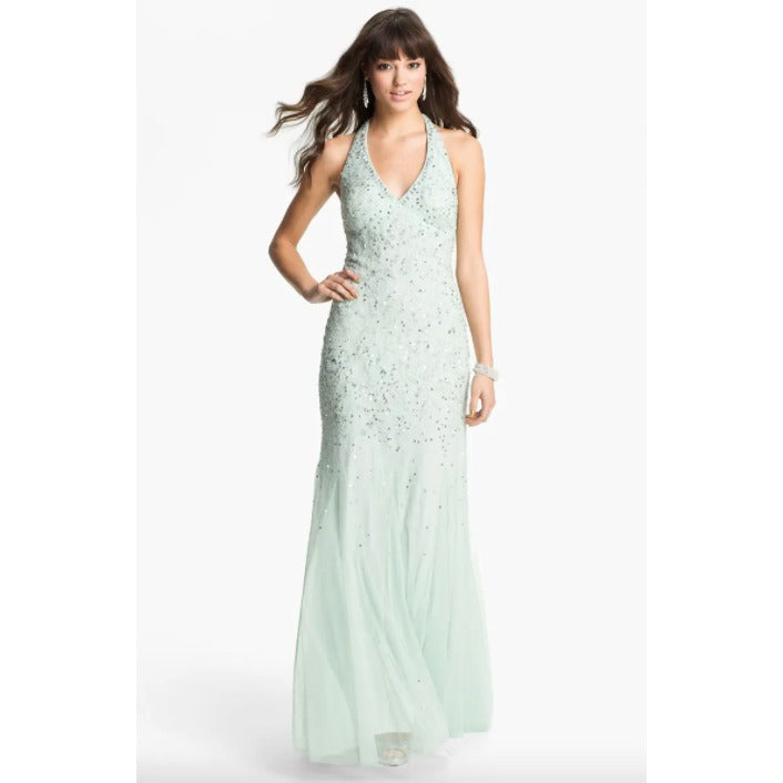 Adrianna Papell Mint Beaded Mesh Halter Gown 6 New Long Dress Maxi Dresses