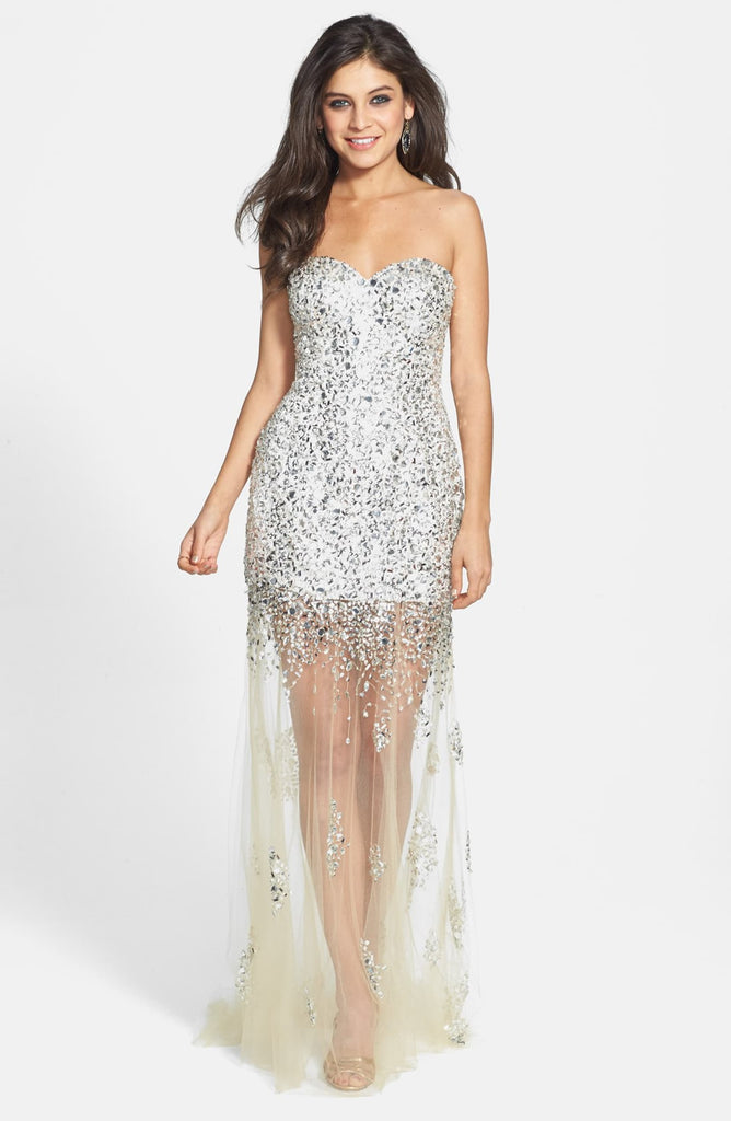 Sean Collection Embellished Illusion Skirt Strapless Gown