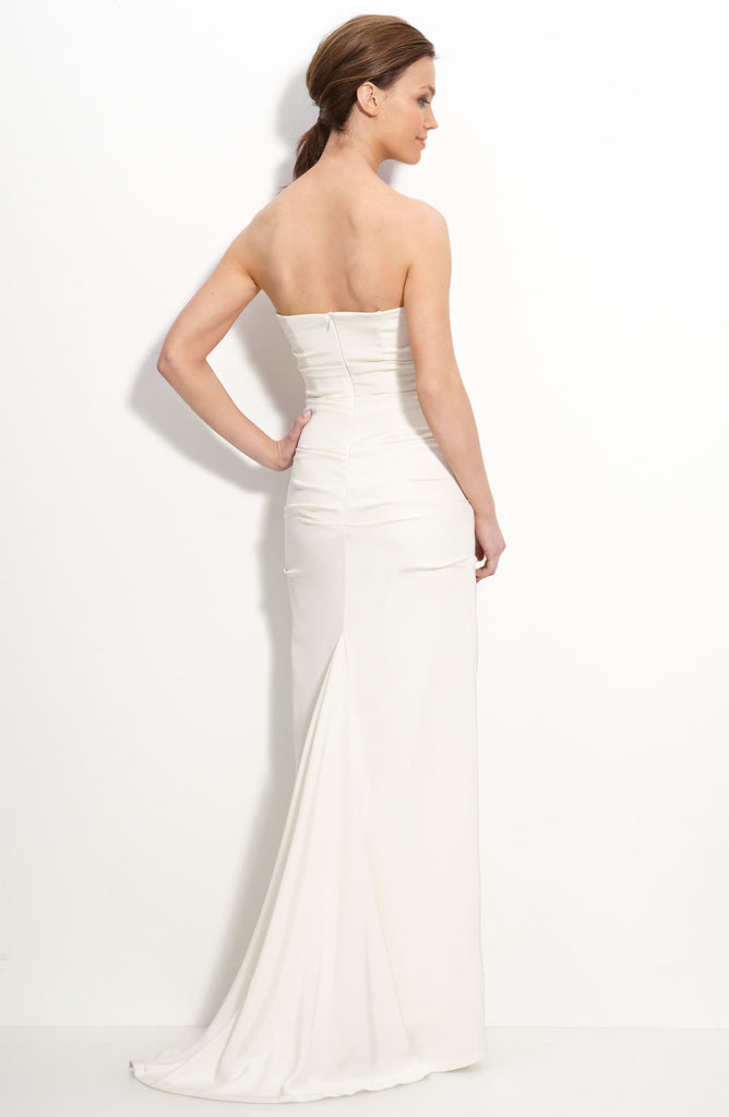Nicole Miller Bridal Pintucked Crêpe de Chine Strapless Gown