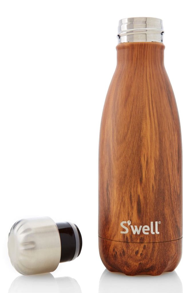 Swell The Wood Collection Teakwood Insulated Stainless Steel Water Bottle