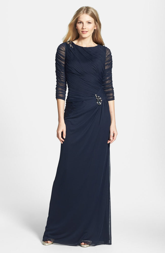 Adrianna Papell Sheer Sleeve Ruched Mesh Gown