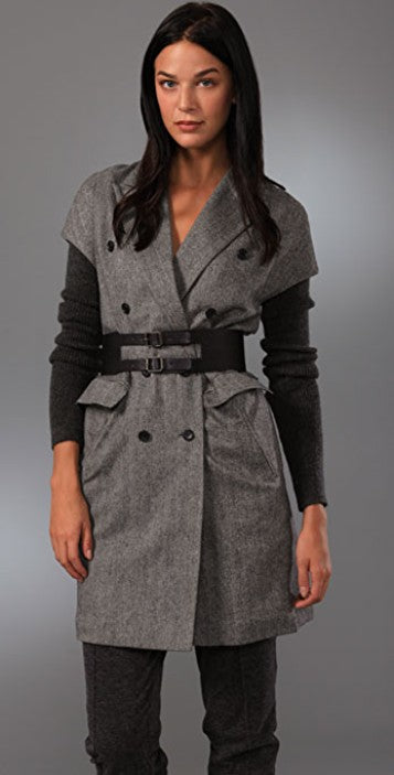 Elizabeth and James Knit Sleeve Belted Herringbone Blazer