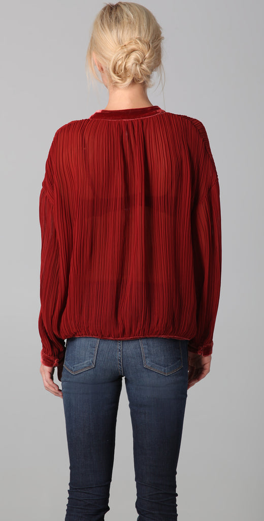 Free People Pleated Blouse with Velvet Trim