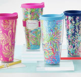 Lilly Pulitzer Gimme Some Leg Thermal Mug  Pink Gold Flamingos